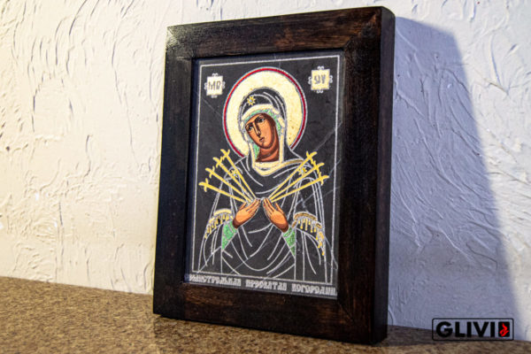 Икона Божией Матери Семистрельной № 5 из камня, камня, изображение, фото 3