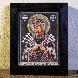 Икона Божией Матери Семистрельной № 7 из камня, камня, изображение, фото 2