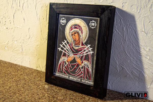 Икона Божией Матери Семистрельной № 7 из камня, камня, изображение, фото 1
