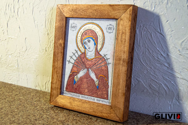 Икона Божией Матери Семистрельной № 8 из камня, камня, изображение, фото 1