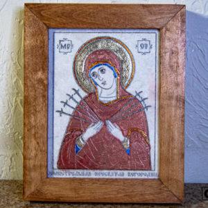 Икона Божией Матери Семистрельной № 8 из камня, камня, изображение, фото 2
