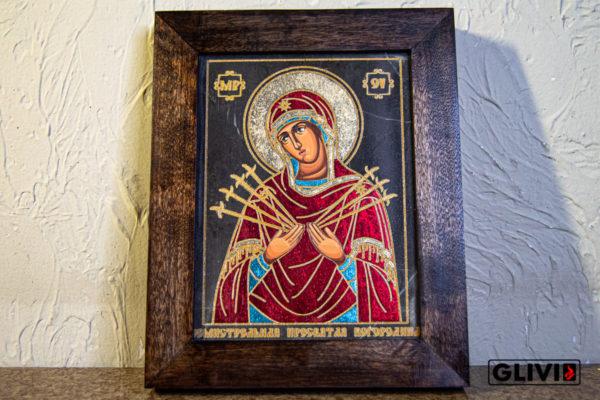 Икона Божией Матери Семистрельной № 9 из камня, камня, изображение, фото 3