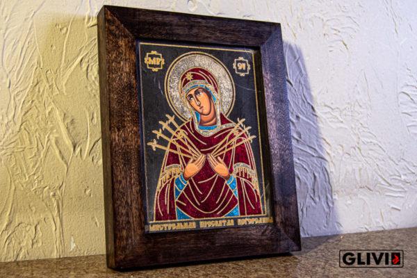 Икона Божией Матери Семистрельной № 9 из камня, камня, изображение, фото 2