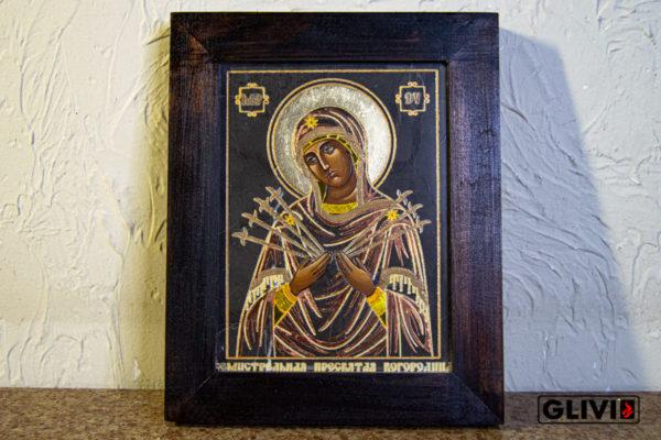 Икона Божией Матери Семистрельной № 10 из камня, камня, изображение, фото 2