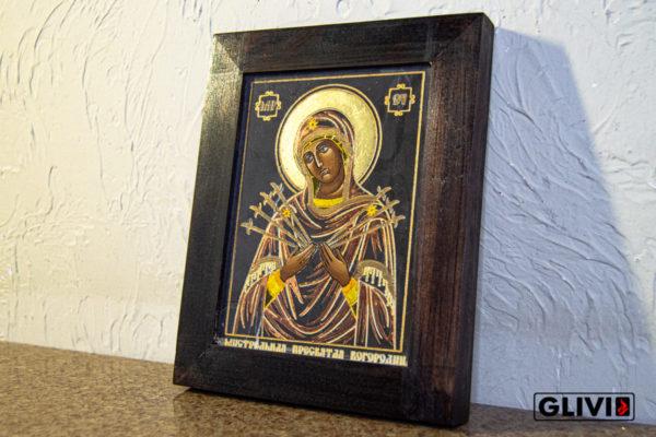 Икона Божией Матери Семистрельной № 10 из камня, камня, изображение, фото 3