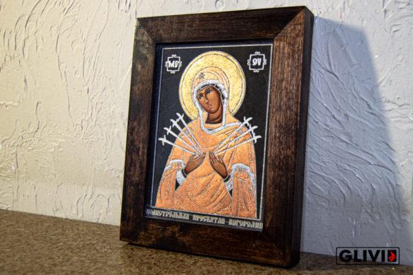 Икона Божией Матери Семистрельной № 11 из камня, камня, изображение, фото 1