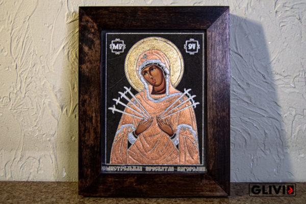 Икона Божией Матери Семистрельной № 11 из камня, камня, изображение, фото 2