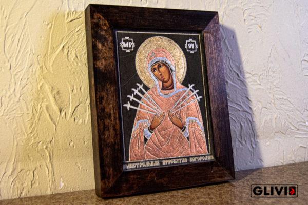 Икона Божией Матери Семистрельной № 11 из камня, камня, изображение, фото 3