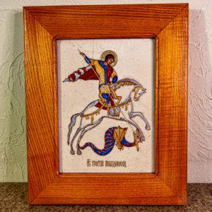 Икона Святого Георгия Победоносца № 01 из мрамора на коне, каталог, изображение, фото 1