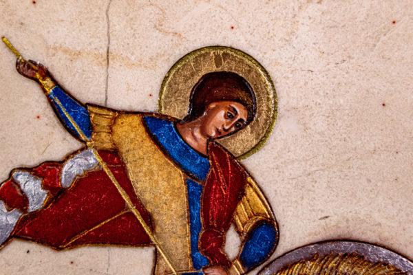 Икона Святого Георгия Победоносца № 01 из мрамора на коне, каталог, изображение, фото 2
