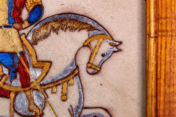 Икона Святого Георгия Победоносца № 01 из мрамора на коне, каталог, изображение, фото 4