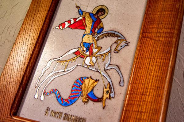 Икона Святого Георгия Победоносца № 01 из мрамора на коне, каталог, изображение, фото 8