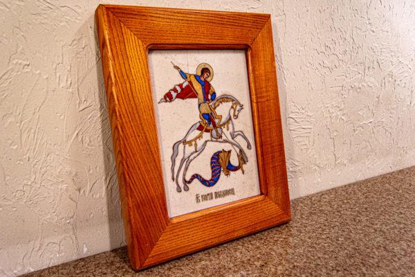 Икона Святого Георгия Победоносца № 01 из мрамора на коне, каталог, изображение, фото 9