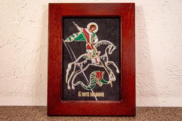 Икона Святого Георгия Победоносца № 02 из мрамора на коне, каталог, изображение, фото 15