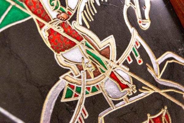Икона Святого Георгия Победоносца № 02 из мрамора на коне, каталог, изображение, фото 6