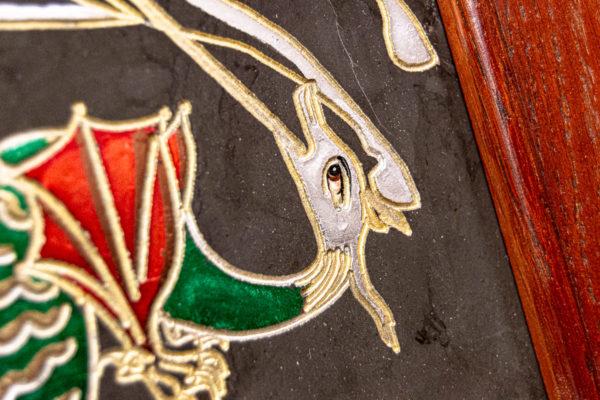 Икона Святого Георгия Победоносца № 02 из мрамора на коне, каталог, изображение, фото 7