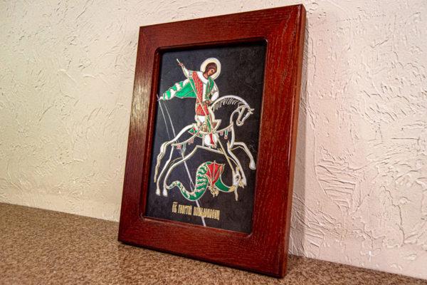 Икона Святого Георгия Победоносца № 02 из мрамора на коне, каталог, изображение, фото 9