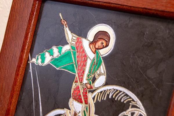 Икона Святого Георгия Победоносца № 02 из мрамора на коне, каталог, изображение, фото 2