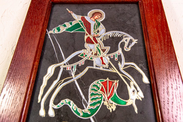 Икона Святого Георгия Победоносца № 02 из мрамора на коне, каталог, изображение, фото 5
