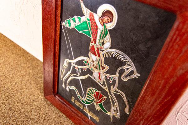 Икона Святого Георгия Победоносца № 02 из мрамора на коне, каталог, изображение, фото 1
