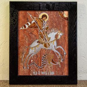 Икона Святого Георгия Победоносца № 03 из мрамора на коне, каталог, изображение, фото 8