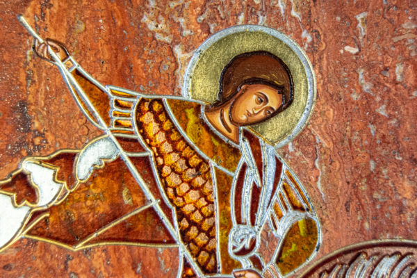 Икона Святого Георгия Победоносца № 03 из мрамора на коне, каталог, изображение, фото 3