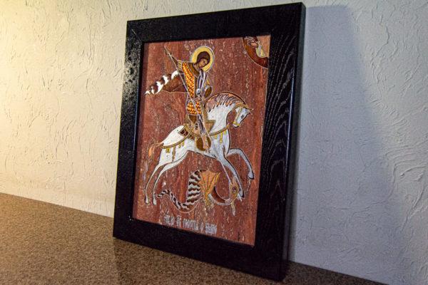Икона Святого Георгия Победоносца № 03 из мрамора на коне, каталог, изображение, фото 4