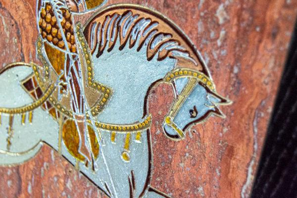 Икона Святого Георгия Победоносца № 03 из мрамора на коне, каталог, изображение, фото 5