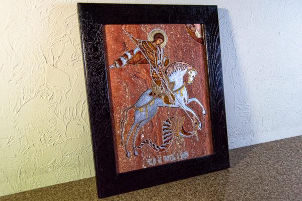 Икона Святого Георгия Победоносца № 03 из мрамора на коне, каталог, изображение, фото 6
