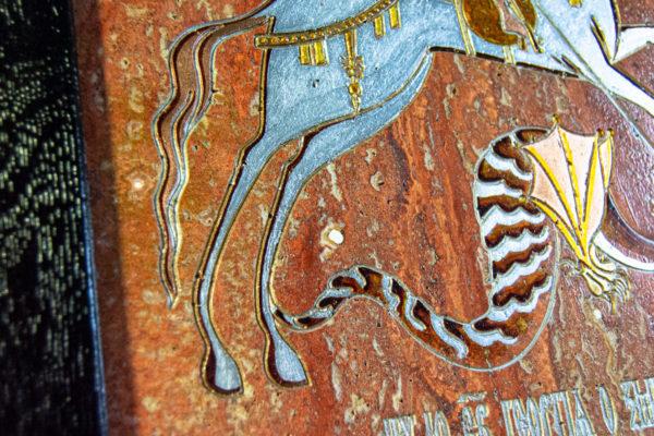 Икона Святого Георгия Победоносца № 03 из мрамора на коне, каталог, изображение, фото 7