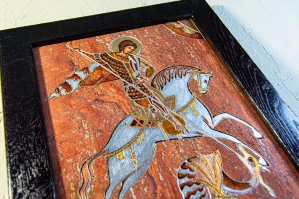 Икона Святого Георгия Победоносца № 03 из мрамора на коне, каталог, изображение, фото 2