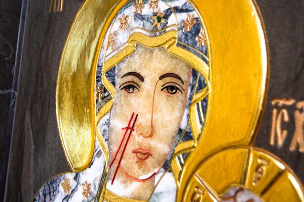 Икона Ченстоховской Божией Матери № 1-12,8 из мрамора, каталог икон, изображение, фото 7