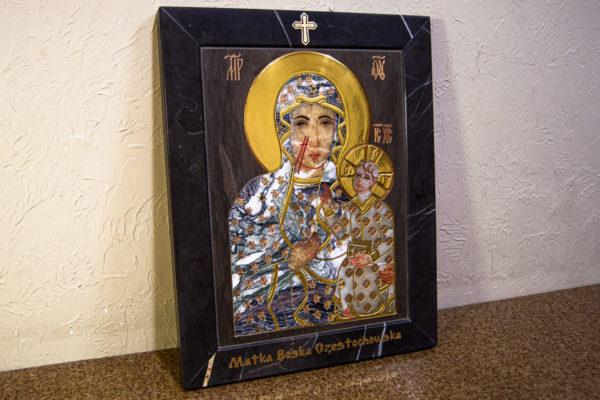 Икона Ченстоховской Божией Матери № 1-12,8 из мрамора, каталог икон, изображение, фото 2