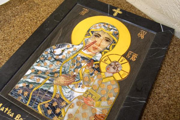Икона Ченстоховской Божией Матери № 1-12,8 из мрамора, каталог икон, изображение, фото 1