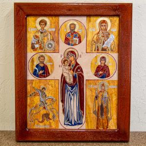 Икона Купятицкой Божией Матери из камня храмовая, аналойная икона, изображение, фото 1