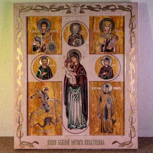 Икона Купятицкой Божией Матери № 02 из камня для храма, на аналой, изображение, фото 1