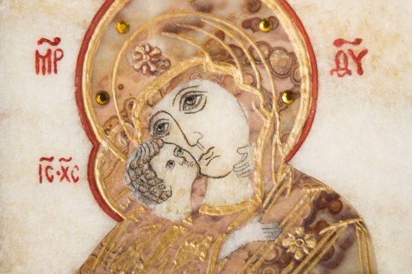 Икона Владимирской Божией Матери № 11 из мрамора, камня, от Гливи, фото 8