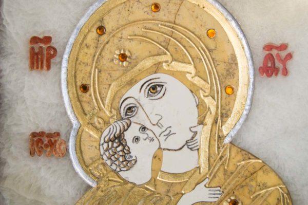 Икона Владимирской Божией Матери № 10 из мрамора, камня, от Гливи, фото 14