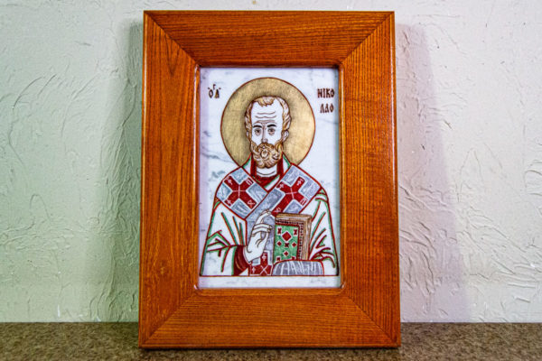Икона Николая Угодника № 5-29 из мрамоае, малая, подарочная, именная, изображение, фото 1