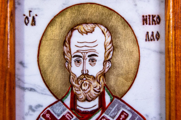 Икона Николая Угодника № 5-29 из мрамоае, малая, подарочная, именная, изображение, фото 2