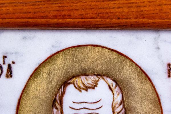 Икона Николая Угодника № 5-29 из мрамоае, малая, подарочная, именная, изображение, фото 3