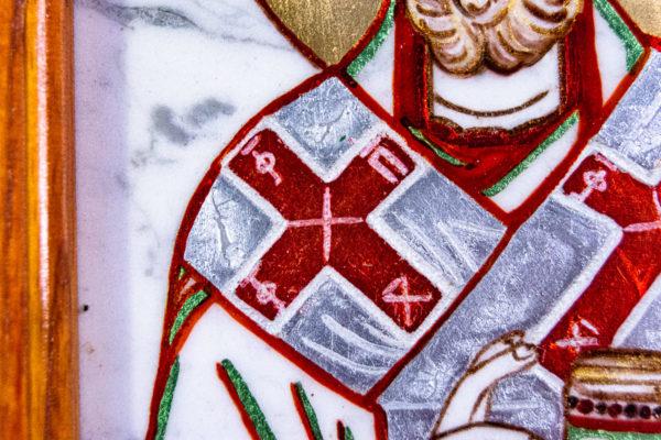 Икона Николая Угодника № 5-29 из мрамоае, малая, подарочная, именная, изображение, фото 4