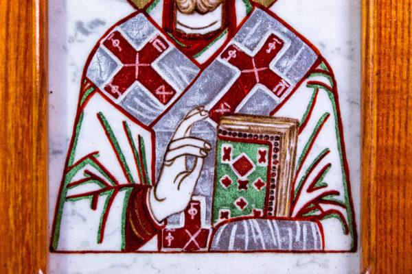 Икона Николая Угодника № 5-29 из мрамоае, малая, подарочная, именная, изображение, фото 5