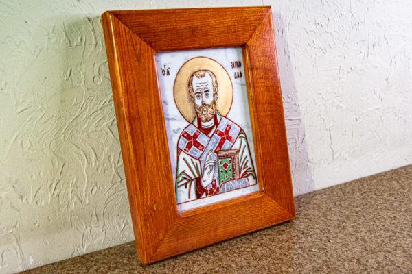Икона Николая Угодника № 5-29 из мрамоае, малая, подарочная, именная, изображение, фото 6