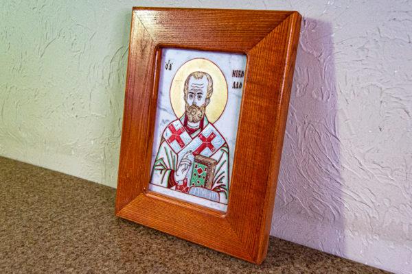 Икона Николая Угодника № 5-29 из мрамоае, малая, подарочная, именная, изображение, фото 9