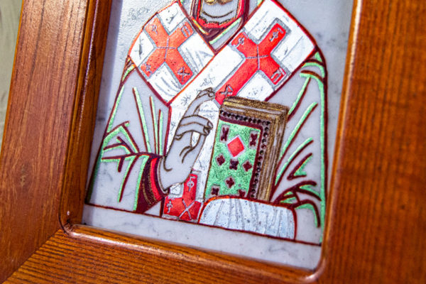 Икона Николая Угодника № 5-29 из мрамоае, малая, подарочная, именная, изображение, фото 10