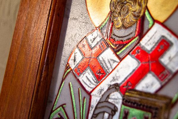 Икона Николая Угодника № 5-29 из мрамоае, малая, подарочная, именная, изображение, фото 11