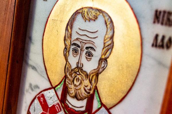 Икона Николая Угодника № 5-29 из мрамоае, малая, подарочная, именная, изображение, фото 12