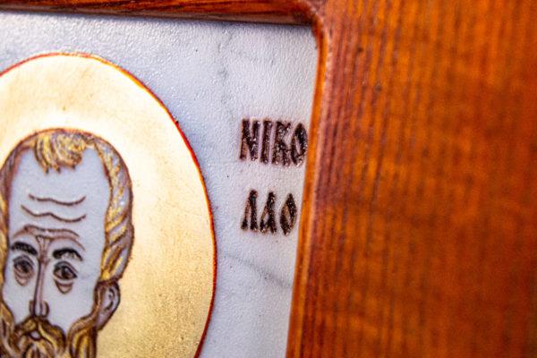 Икона Николая Угодника № 5-29 из мрамоае, малая, подарочная, именная, изображение, фото 13