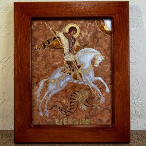 Икона Святого Георгия Победоносца № 04 из мрамора на коне, каталог, изображение, фото 1